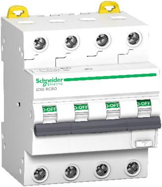 Acti9 iC60 kombiafbryder 4P, 16A, 415V, 30mA, 6kA, klasse A, B-karakteristik. Bredde 72 mm. A9D87416