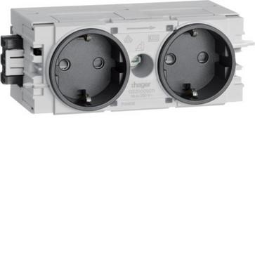 Ecoline stikkontakt 2xSCHUKO for C-profilmontage RAL9011 GS20009011