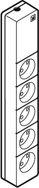 Stikkontaktdåse transportabel type 80 for 5 runde stikpropper 2-pol med jord, lysegrå 210A5283