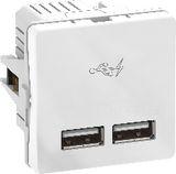 FUGA dobbelt 5V USB-lader, 2100 mA, 1 modul, hvid