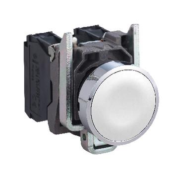 Harmony trykknap komplet med fjeder-retur og plan trykflade i hvid farve 1xNO, XB4BA11 XB4BA11