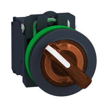 Harmony flush drejeafbryder komplet med LED og 2 faste positioner i orange 110-120VAC 1xNO+1xNC, XB5FK125G5 XB5FK125G5