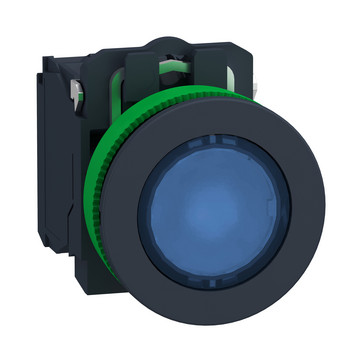 Harmony flush lampetryk komplet med LED og plan trykflade med fjeder-retur i blå farve 230-240VAC forsyning 1xNO+1xNC, XB5FW36M5 XB5FW36M5