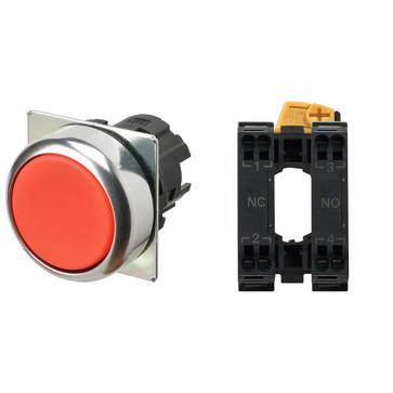 Trykknap A22NN Ø22, bezel metal, FLAT, MOMENTARY, CAP COLOR Opaque RED,, 1NO1NC, IKKE-TÆNDT, push-in terminal A22NN-RNM-NRA-P102-NN 673695