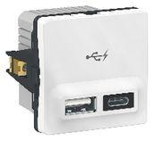 FUGA dobbelt 5V USB A+C-lader, 2400 mA, 1 modul, hvid