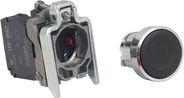 Trykknap komplet i metal for montage i Ø22 mm hul med fjeder-retur og plan trykflade i sort farve og 1xNO+1xNC kontakter XB4BA25