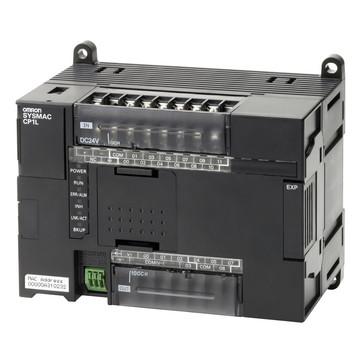 PLC, 24VDC forsyning, 12x24VDC indgange, 8xPNP udgange 0,3A, 2xanaloge indgange, 5K trin program + 10K-ord datalager, 1xEthernet-port CP1L-EL20DT1-D 667994