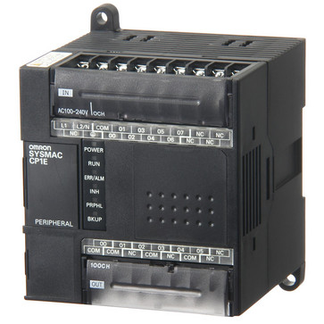 PLC, 100-240 VAC forsyning, 8x24VDC input, 6xrelæudgange 2A, 2K trin program + 2K-ord datalager CP1E-E14DR-A 333286