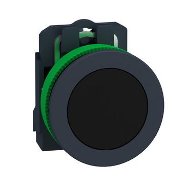 Harmony flush trykknap komplet med fjeder-retur og plan trykflade i sort farve 1xNO, XB5FA21 XB5FA21