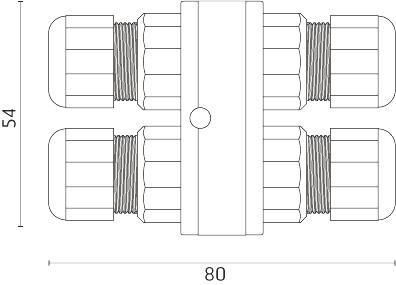 Forgreningsblok, 4 polet, IP68, H2O-stop(Ø5,5-12mm kabel)