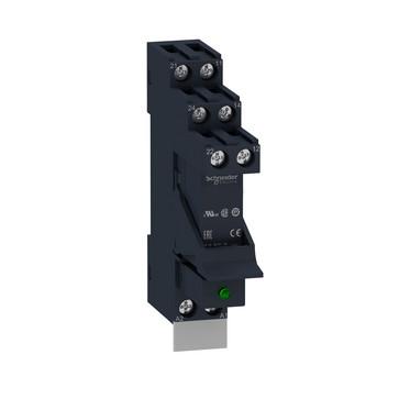 Zelio RSB stikbensrelæ i sokkel med varistor og skilt, 2 C/O kontakter på 8A og 230VAC forsyning RSB2A080P7PV