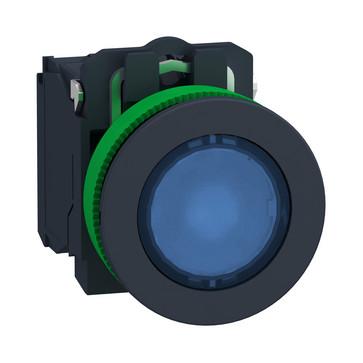 Harmony flush lampetryk komplet med LED og plan trykflade med fjeder-retur i blå farve 110-120VAC forsyning 1xNO+1xNC, XB5FW36G5 XB5FW36G5