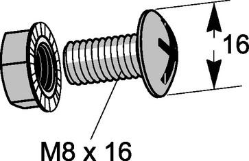 Skruesæt Montering Varmgalvaniseret C4 M8X16 mm 50 stk 937Z