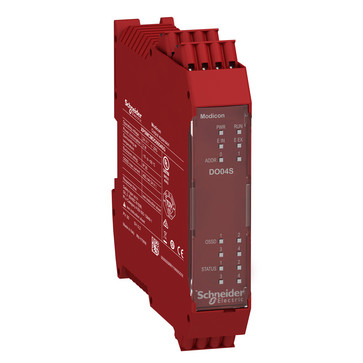 Udvidelsesmodul, 4 stk enkelt kanaler / 2 par OSSD Cat.4 sikkerheds output (PNP 400mA) 4 konfig I/O kanaler fjeder terminaler XPSMCMDO0004SG
