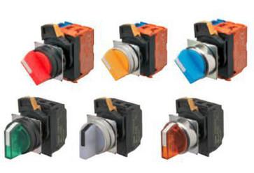 SelectorA22NW 22 dia., 2 position, Oplyste, bezel plast,Automatisk reset på venstre, farve grøn, LED grøn, 1NO1NC, 24VDC A22NW-2BL-TGA-G102-GC 660199