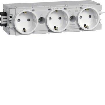 Ecoline stikkontakt 3xSCHUKO for C-profilmontage RAL9016 GS30009016