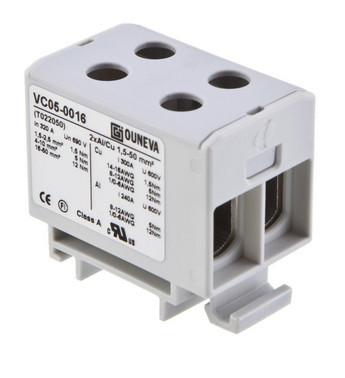 Universal klemme isoleret aluminium/kobber 2*(1,5-50) mm², grå FT-UNI.KL-DOB-1,5-50-GRÅ