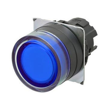 Trykknap A22NZ 22 dia., Bezel plast, fuld vagt, momentan, kasket farve gennemsigtig blå, tændte A22NZ-BGM-TAA 667104