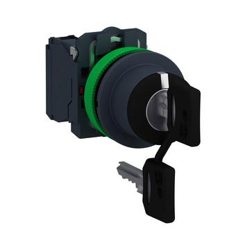 Harmony flush nøgleafbryder komplet med 3 faste positioner og nøgle (Ronis 455) ud i V+M+H 2xNO, XB5FG03 XB5FG03