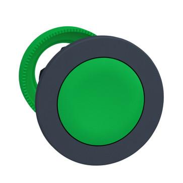 Harmony flush trykknapshoved i plast med fjeder-retur og plan trykflade i grøn farve ZB5FA3