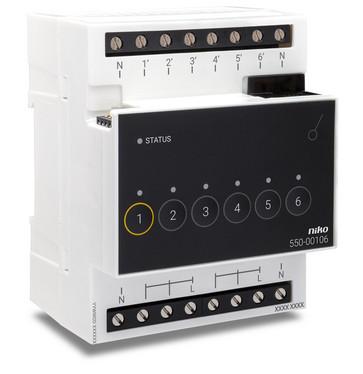 Relæmodul til Niko Home Control til seks forskellige kredsløb 550-00106