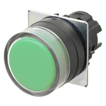 Trykknap A22NZ 22 dia., Bezel plast, fuld vagt, momentan, kasket farve uigennemsigtig grøn A22NZ-BGM-NGA 666481