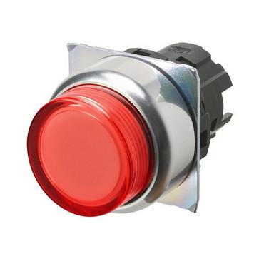 Trykknap A22NZ 22 dia., Bezel metal, projiceret,Alternativ, cap farve gennemsigtig rød, tændte A22NZ-RPA-TRA 667275