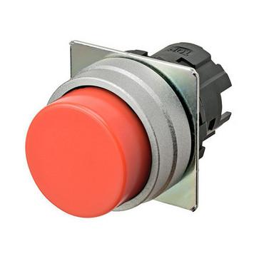 Trykknap A22NZ 22 dia., Falsen børstet metal, projiceret, momentan, kasket farve uigennemsigtig rød A22NZ-MPM-NRA 666348
