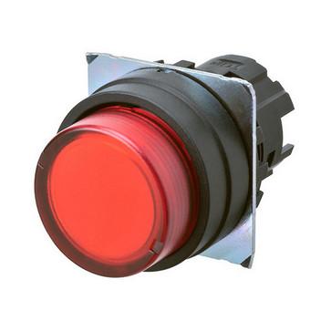 Trykknap A22NZ 22 dia., Bezel plast, projiceret, momentan, kasket farve gennemsigtig rød, tændte A22NZ-BPM-TRA 663360