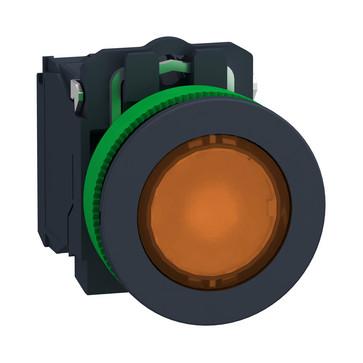 Harmony flush lampetryk komplet med LED og plan trykflade med fjeder-retur i orange farve 230-240VAC forsyning 1xNO+1xNC, XB5FW35M5 XB5FW35M5
