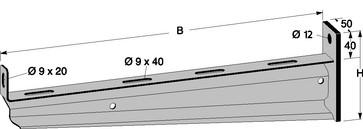 Vægkonsol KN rustfri 500mm 175R