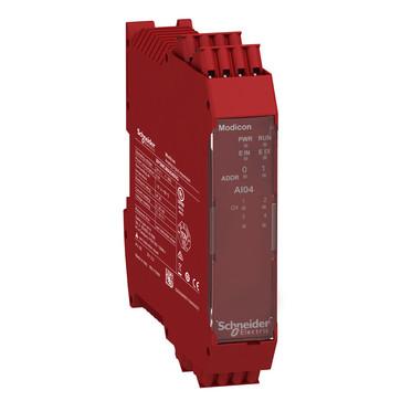 Udvidelsesmodul 4. Analog 1. kanal's Input modul 0…20mA eller 0…10V fjeder klemmer XPSMCMAI0400G