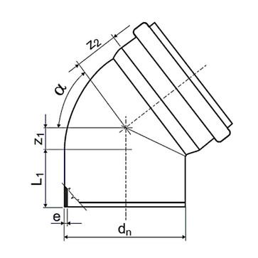 Ht-Pp (Amax Pro) Ø50 mm X 45° Grå Bøjning KLW-050-018-045-GD