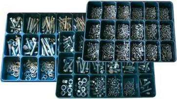 Box med lige kærv cylinderhoved maskinskruer DIN 84 rustfri A2 + møtrikker DIN 934 rustfri A2 M3 - M6 41010.000.588