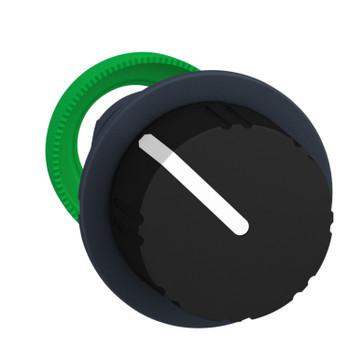 Harmony flush drejegreb i plast med en sort rund knob med 2 positioner og fjeder-retur fra H-til-V ZB5FD49