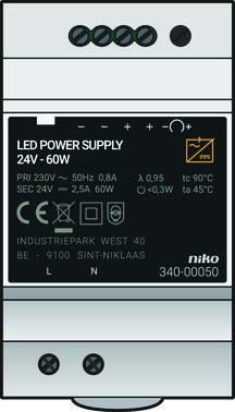 Modulær strømforsyning 24 Vdc, 60 W 340-00050