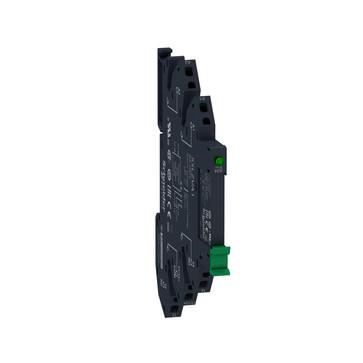 Zelio SSL Slim Solid State relæ (nulvoltskoblende) med 2A/24-280VAC udgang i sokkel med fjederklemmer og 24VDC forsyning SSL1A12BDPR