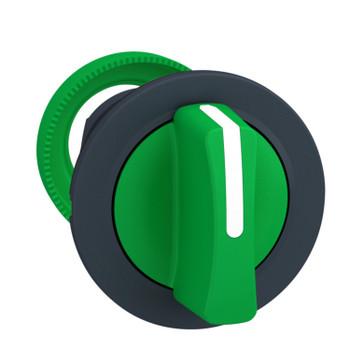 Harmony flush drejegreb i plast med et kort grønt greb med 3 positioner og fjeder-retur til midt ZB5FD503