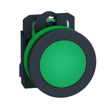 Harmony flush signallampe komplet med LED i grøn farve og 24VAC/DC forsyning XB5FVB3