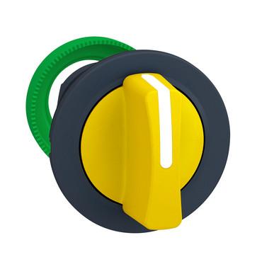Harmony flush drejegreb i plast med et kort gult greb med 3 positioner og fjeder-retur til midt ZB5FD505