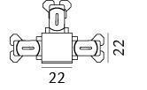 Zip T-stykke til tre skinner Børstet stål