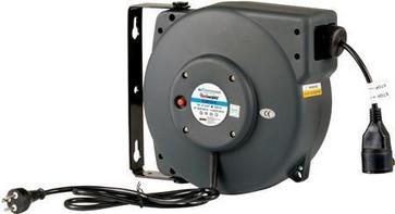 Flowconcept Aut. kabelopruller IP42, grå 3 x 1,5mm² 15m kabel danske stik 1000/2000W 230V 10A EL605153-G