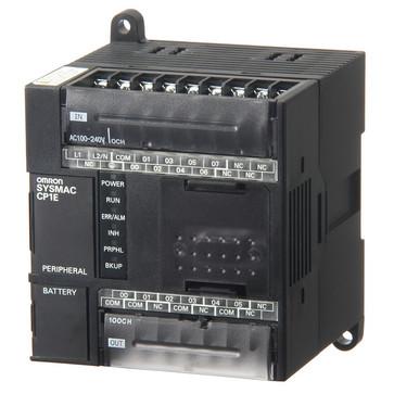 PLC, 100-240 VAC forsyning, 8x24VDC input, 6xrelæudgange 2A, 8K trin program + 8K wordsdata hukommelse, RS-232C port CP1E-N14DR-A 333287