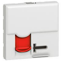 Dataudtag Mosaic 1x RJ45 Kat.6 STP modular jack 2M hvid med rød klap og tekstfelt hvid 76596