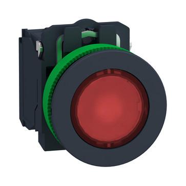 Harmony flush lampetryk komplet med LED og plan trykflade med fjeder-retur i rød farve 24VAC/DC forsyning 1xNO+1xNC, XB5FW34B5 XB5FW34B5