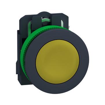 Harmony flush trykknap komplet med fjeder-retur og plan trykflade i gul farve 1xNO, XB5FA51 XB5FA51