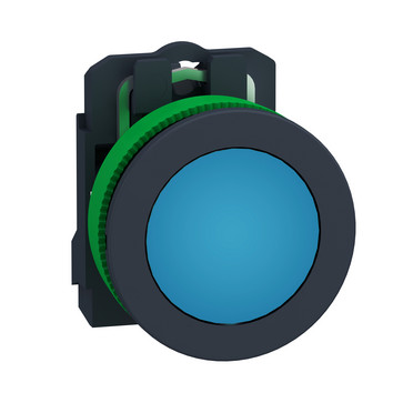 Harmony flush signallampe komplet med LED i blå farve og 24VAC/DC forsyning XB5FVB6