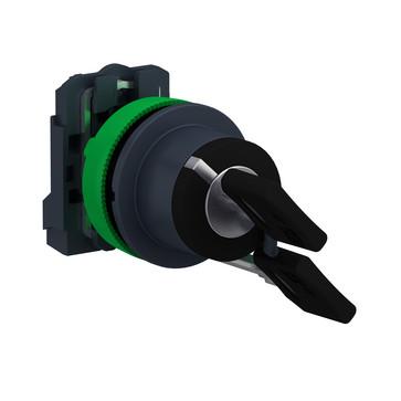 Harmony flush nøgleafbryder komplet med 2 positioner og fjeder-retur fra højre til venstre og nøgle (Ronis 455) ud i V 1xNO, XB5FG61 XB5FG61