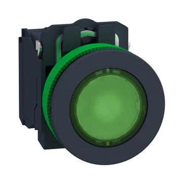 Harmony flush lampetryk komplet med LED og plan trykflade med fjeder-retur i grøn farve 110-120VAC forsyning 1xNO+1xNC, XB5FW33G5 XB5FW33G5