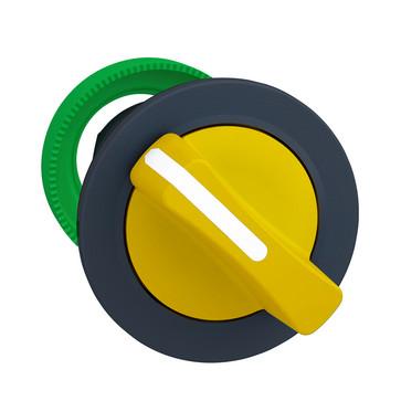 Harmony flush drejegreb i plast med et kort gult greb med 2 positioner og fjeder-retur fra H-til-V ZB5FD405